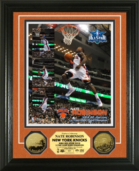 Nate Robinson 3x Slam Dunk Contest Champ 24 KT Gold Coin Phto Mint