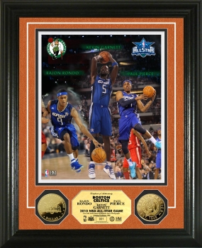 Kevin Garnett, Paul Pierce, and Rajon Rondo NBA All Star Game 24KT Gold Coin Photo Mint