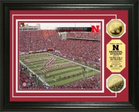 University of Nebraska Memorial Stadium 24KT Gold Coin Photomint