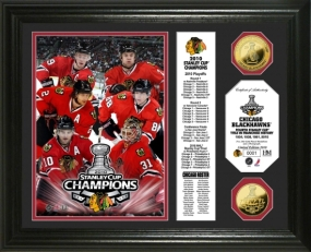Chicago Blackhawks 2010 Stanley Cup Champions 24KT Gold Coin Banner Photo Mint