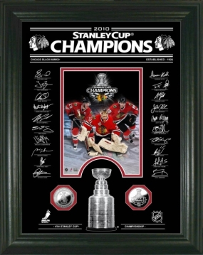 Chicago Blackhawks Stanley Cup Signature Etched Glass 24kt Gold Coin Photo Mint