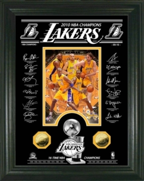 Los Angeles Lakers 2010 NBA Champions Signature Etched Glass24kt Gold Coin Photo Mint