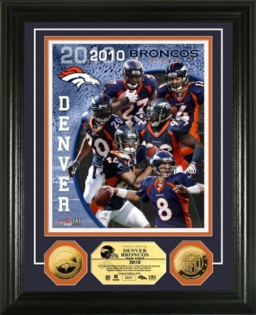 Denver Broncos Team Force 24KT Gold Coin Photo Mint