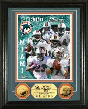 Miami Dolphins Team Force 24KT Gold Coin Photo Mint