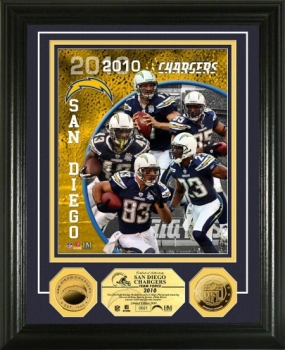 San Diego Chargers Team Force 24KT Gold Coin Photo Mint