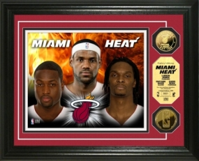 "Miami Heat ""Big Three"" 24KT Gold & Color PhotoMint"