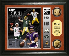 Brett Favre Road to 500th TD 24KT Gold Coin Photo Mint