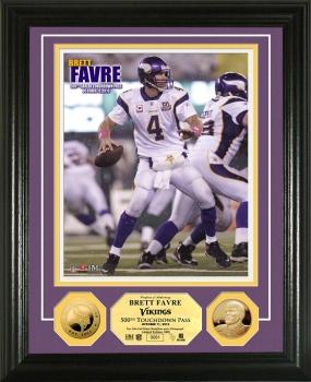 Brett Favre 500th TD 24KT Gold Coin Photo Mint