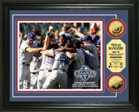 Texas Rangers 2010 AL West Division Champs 24KT Gold Photo Mint
