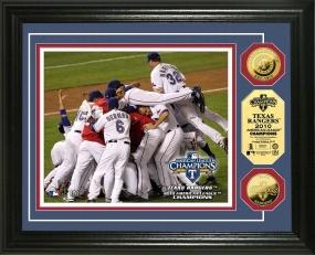 Texas Rangers 2010 A.L. Champs Celebration 24KT Gold Coin Photo Mint