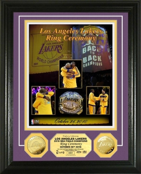 Los Angeles Lakers 2010 Ring Ceremony 24 KT Gold Coin Photo Mint