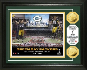 Super Bowl XLV Champions 24KT Gold Coin Celebration Photo Mint