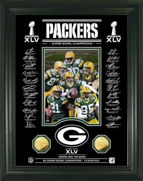 Super Bowl XLV Champions 24KT Gold Coin Signature Etched Glass Photo Mint
