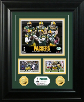 Green Bay Packers Super Bowl XLV Marquee 24KT Gold Coin Photo Mint