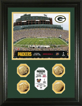 Green Bay Packers 4-Coin 24KT Gold Super Bowl Champions Photo Mint
