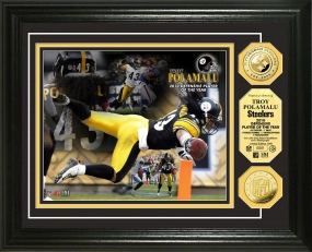 Troy Polamalu 2010 Defensive POY 24KT Gold Coin Photo Mint