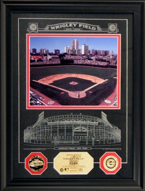 WRIGLEY FIELD ARCHIVAL ETCHED GLASS PHOTO MINT