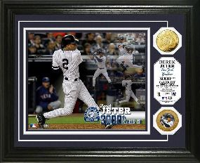 Derek Jeter 3000th Hit Commemorative 24KT Gold Coin Photo Mint