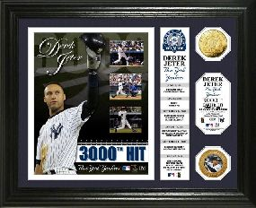 Derek Jeter 3000th Hit Banner 24KT Gold Coin Photo Mint