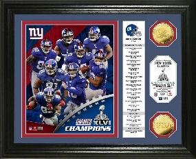 Super Bowl XLVI Champions Gold Coin Banner Photo Mint