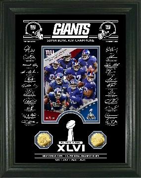 Super Bowl XLVI Champions Gold Coin Signature Etched Glass Photo Mint