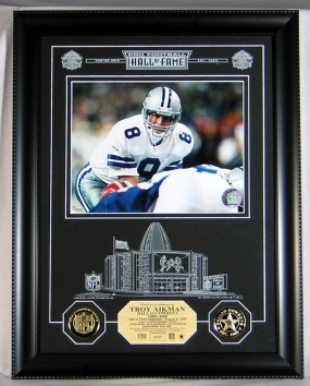 Troy Aikman HOF Archival Etched Glass Photomint