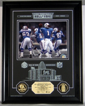 Warren Moon Hall of Fame Etched Glass Photomint