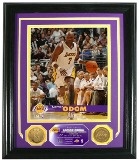 Lamar Odom Photo Mint W/ Two 24KT Gold Coins
