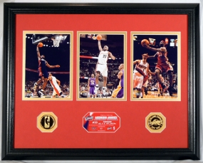 Lebron James Trio Photo Mint w/ Two 24KT Gold Coins