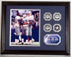 Triplets (Aikman  Emmitt  Irvin) Photo Mint w/Four Silver Coins