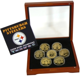 Pittsburgh Steelers 24KT Gold Six Time Super Bowl Champions 7 Coin Set