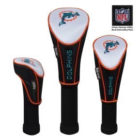 Miami Dolphins Set of 3 Golf Club Headcovers