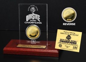 Ohio State Buckeyes 2010 Rose Bowl Champs24KT Gold Coin in Engraved Acrylic
