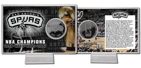 San Antonio Spurs Team History Silver Plate Coin Card