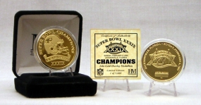 Superbowl XXXIX Champion 24 Kt Gold Overlay Coin