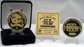 Superbowl XL Champion 24 Kt Gold Overlay Coin