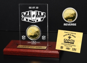 Super Bowl 44 Champs 24KT Gold Etched Acrylic