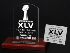 Super Bowl XLV Commemorative Etched Plaque