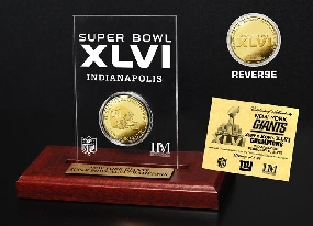 Super Bowl XLVI Champions Gold Etched Acrylic