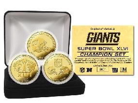 Super Bowl XLVI Champs Gold 3 Coin Set