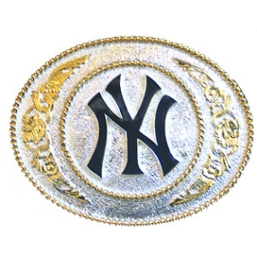 NY Yankees - Gold and Silver Toned MLB Logo Buckle