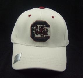 South Carolina Gamecocks White One Fit Hat