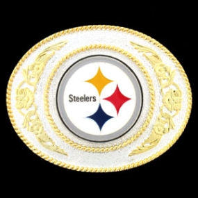 Pittsburgh Steelers - Gold and Silver Toned NFL Logo Buckle