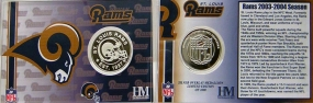 St Louis Rams Team History Silver Coin Card