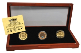 SEATTLE MARINERS 24kt Gold and Infield Dirt 3 Coin Set
