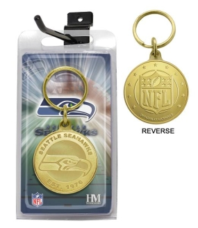 Seattle Seahawks Bronze Bullion Keychain