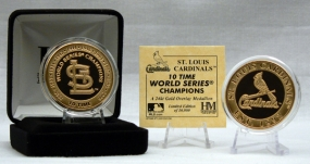 24KT Gold St. Louis Cardinals 10 Time World Series Champion Coin