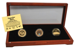 TAMPA BAY RAYS 24kt Gold and Infield Dirt 3 Coin Set