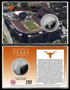 University of Texas Darrell K Royal -Texas Memorial Stadium Silver Coin Card