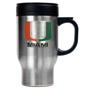 Miami Hurricanes 16oz Stainless Steel Travel Mug